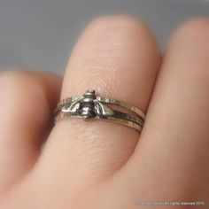 Hammered Bee Stacking Rings Sterling Silver by jorgensenstudio, $36.00