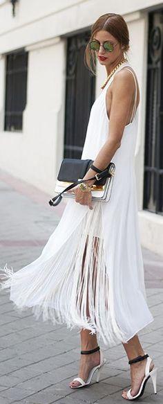 Fringed White Maxi Dress