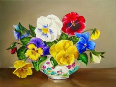 Pretty Vase of Pansies (80 pieces)
