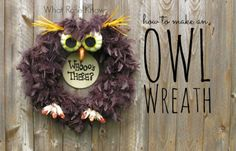 Easy fall crafts: Welcome guests with this feathery friend made with a twig wreath, a faux feather boa, some pumpkin picks and more.