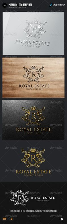 The Royal Estate Logo #GraphicRiver This logo design for all creative business. Consulting, Excellent logo,simple and unique concept. Logo Template Features AI and EPS (Illustrator 10 EPS) 300PPI CMYK 100% Scalable Vector Files Easy to edit color / text Ready to print Font information at the help file If you buy and like this logo, please remember to rate it. Thanks! Created: 25September13 GraphicsFilesIncluded: VectorEPS #AIIllustrator Layered: No MinimumAdobeCSVersion: CS Resolution…
