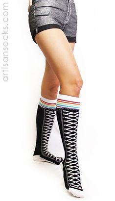 84fe9fc7fb1 Black Knee High Shoe Socks with Rainbow Stripes by K. Bell from Artisan  Socks www