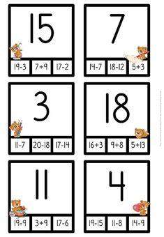 Nypkort - 30 nypkort med addition och subtraktion Pinch Cards - 30 pinch cards with addition and sub Kindergarten Math Activities, Preschool Math, Math Classroom, Math Games, Place Value Worksheets, Kids Math Worksheets, Math Addition, Addition And Subtraction, Teaching Kids