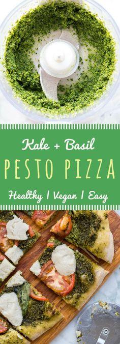 Homemade vegan pesto pizza with kale, basil, tomatoes, and miyoko's non-dairy mozzarella