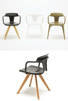 Stainless steel and wood #chair with armrests T14 by Tolix Steel Design | #design Patrick Norguet
