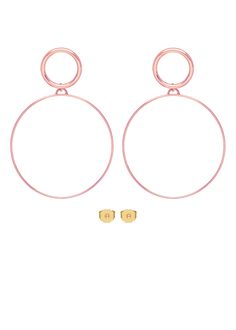 (H)OOPS MAXI EARRINGS A pair of maxi earrings featuring a thin, maxi hoop charm attached to a flat circular stud earring. Girl Falling, Blush Color, Jewelry Collection, Bag Accessories, Jewelry Making, Hoop Earrings, Candy, Gold, Pink