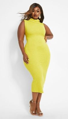 Women's Plus Size Sweater Dresses New Styles - - Plus Size Yellow Long Bodycon Sweater Dress Women's. Yellow plus size ribbed bodycon sleeveless knit sweater dress with cowl neckline. Source by theuntidycloset - Plus Size Sweater Dress, Cowl Neck Sweater Dress, Plus Size Sweaters, Tee Dress, Sweater Dresses, Plus Size Bodycon Dresses, Plus Size Cocktail Dresses, Dresser, Sweater Fashion