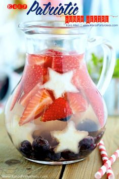 Red, white and blue PATRIOTIC punch recipe via Kara Allen | Kara's Party Ideas | KarasPartyIdeas.com Perfect drink for 4th of July & Memorial Day! Stars and stripes!