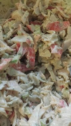 Crab salad with cut celery, crab meat and a little bit of old bay seasoning..