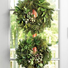 54 Festive Christmas Wreaths: Double Stack Wreaths