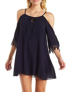 Gauzy Cold Shoulder Shift Dress with Crochet Trim: Charlotte Russe