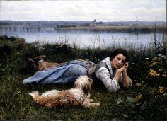 Amélie Helga Lundahl (1850–1914) Девочка в саду
