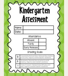 Kindergarten Common Core Progress Report: Editable, Fits on an 8 1 ...
