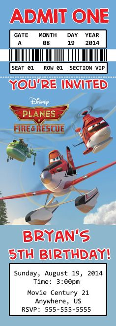 Disney Planes Fire and Rescue Movie Birthday Ticket Invitations $8.99
