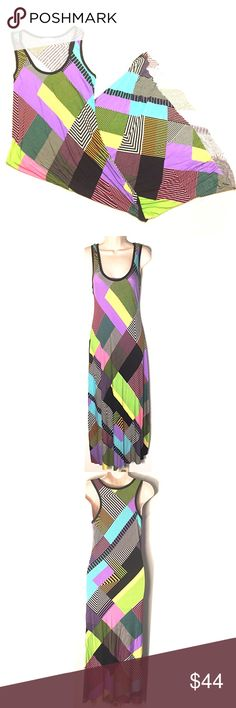 "❣BOGO 1/2 off❣🆕Calvin Klein multicolor maxi dress NWOT, flawless. Super soft & stretchy cotton/spandex blend. Bright vibrant colors of green, pink, blue, & yellow are perfect for Summer! Size 8. Slightly longer in back than in front. Approx 59"" long in back & 55"" long in front. 18"" flat across bust. ❣Ask me how to BOGO HALF price! ✖️I do NOT MODEL✖️ 🔴Bundle to save! 🔴NO TRADES. 🔴REASONABLE offers welcome via offer button. Calvin Klein Dresses Maxi"