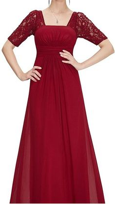 Endofjune Long Chiffon Two Shoulder Lace Sexy Party Dress US-14 Burgundy *** Review more details here : Mother of the Bride