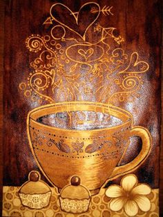 a painting of a cuppa... painted with coffee!!  more about artist   Sunshine Plata here: http://d1wata.wordpress.com/