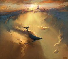 ilustración ballena en el cielo Increíbles pinturas digitales por RHADS