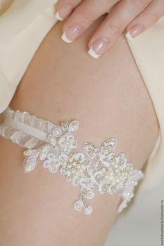 Купить Подвязка невесты с речным жемчугом - белый, подвязка, айвори, подвязка купить, подвязка невесты