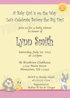 Personalized Photo Invitations | Cmartistry : Baby Looney Tunes Shower  Invitations   DIY Printable