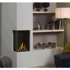 De #Helex I-Frame 38 63 Hoek is een inbouw #gashaard. #Gaskachel #Kampen #Interieur #Fireplace #Fireplaces