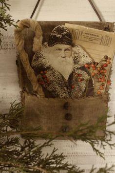 Love the whole thing. Primitive Christmas Decorating, Primitive Santa, Handmade Christmas Decorations, Prim Christmas, Christmas Makes, Primitive Crafts, Vintage Christmas Ornaments, Father Christmas, Homemade Christmas