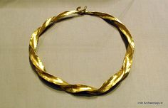 A Middle Bronze Age gold torc from Ballina, Co. Mayo, it dates from c. 1200-1000 BC