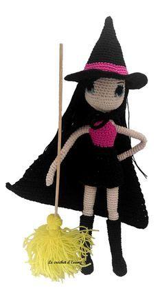 Je vous présente Eden, une jolie petite sorcière qui vient clore les articles pour Halloween. Le patron : Eden, la sorcière Matériels : Un crochet 2 pour la poupée, le chapeau et les bottes, 3 pour la robe et la cape et 1,25 pour les yeux, Du coton beige...