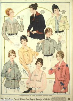 Fashion in 1918 - Women and Men During WWI Winter Suit, Winter Hats, 1918 Fashion, Spring Hats, Spring Blouses, Long Underwear, Fur Stole, Black Stockings, Gingham Check