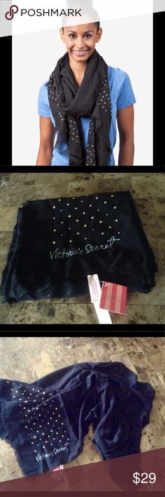Victoria's Secret Jet Set Scarf NWT VISCOSE BLACK SCARF WITH GOLD STUDS. Reposhing; bought for my daughter in law but it's not the one she wanted Victoria's Secret Accessories