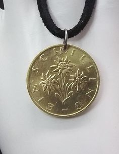 Austrian Coin Necklace, 1 Schilling, Flower Coin, Edelweiss, Leather Cord, Coin…