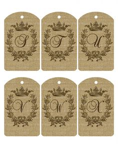 Free Printable Burlap Alphabet Tag Set A-Z - The Cottage Market