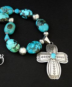 Turquoise and Sterling Silver Stamped Cross Pendant with Turquoise Round Ovals, Blue Turquoise Nuggets & Sterling