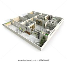 #Stock #photo: #3d #interior #rendering of #oblique #pespective #view of #furnished #aparment with #terrace #shutterstock