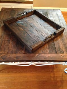 "Custom 24"" x 20"" x 3"" Reclaimed Wood Serving Tray by NatureColorLovers. Contact us to get your custom tray. #naturecolorlovers #etsy #reclaimedwood #servingtray #ottomantray #handmade"
