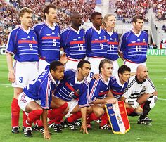 France's star-studded 1998 World Cup squad included Stephane Guivarc'h (back row, left) Fabien Barthez, Real Madrid Manager, 1998 World Cup, France Team, Classic Football Shirts, World Cup Winners, European Soccer, Fc Chelsea, Vs Sport