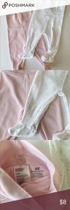 Pair Of  H&M footed pants Pink! Baby girl staples sized US 1m H&M Pajamas Pajama Bottoms