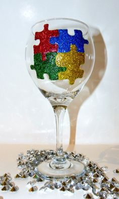 Autism Glitter Wine Glass on Etsy, $25.00