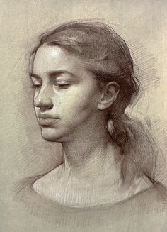 """""""Jessica Jones"""" - Colleen Barry, pencil and chalk on toned paper {contemporary art female head portrait young woman face drawing #loveart} colleenbarryart.com"""
