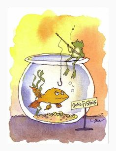 Funny Picture Gone Fishing | Frog Art, Funny Frog Card, Fishing Frog Goldfish Watercolor Gouache ...