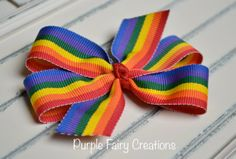 "3"" Rainbow Pinwheel Hair Bow - Baby Girl, Newborn, Infant, Toddler, Child, Teen, Adult (Red, Orange, Yellow, Green, Purple & Blue) by PurpleFairyCreations, $3.00"