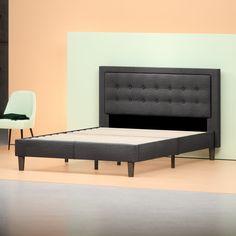 Upholstered Tufted Center Platform Bed Frame