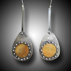 Keum Boo  Sterling Silver 24 k Gold Earrings by xaosart on Etsy, $250.00