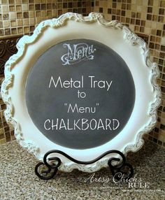 "Old Metal Tray Repurposed with Chalk Paint into a Fun ""Menu"" Chalkboard!! Easy!"