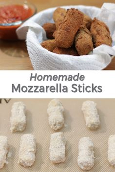 My favorite appetizer! Homemade mozzarella sticks. They are so yummy and super easy to make. All you need are a handful or ingredients like, mozzarella string cheese, eggs, flour, salt, pepper, garlic powder, milk, and oil. If I can do it, you can do it! Homemade Mozzarella Sticks, Mozzarella Cheese Sticks, Yummy Appetizers, Appetizer Recipes, String Cheese, Garlic Powder, Finger Foods, Super Easy, Salt