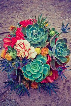 pretty & colorful deserty succulent bouquet (photo by Puruhito Photography)