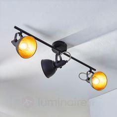 Plafonnier à trois lampes Julin, noir doré, référence 9620730 - Lampes et luminaires dorés pour faire briller votre décoration intérieure chez Luminaire.fr !