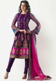Embellished Purple Fuschia Dress Materia