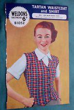 Bonny Vintage 1950s Tartan Fair Isle Waistcoat & Shirt Knitting Pattern 1052