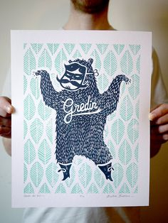 Linogravure deux couleurs  illustration L'Ours Gredin par Gredin, $38.00